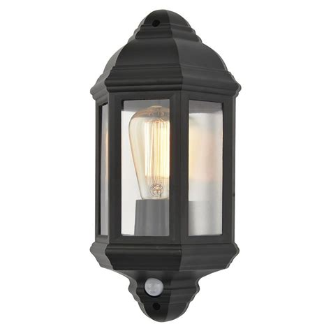 Pir Lights Outdoor Athena 1 Light Outdoor Half Wall Lantern With Pir Sensor Black From Litecraft