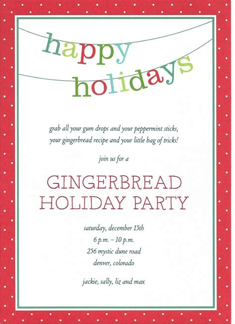 holiday invitation wording template best template collection