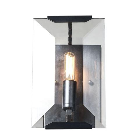 Flat Wall Sconce Lighting Monaco 1 Light Flat Matte Black Glass Wall Sconce 1212w6fb The Home Depot