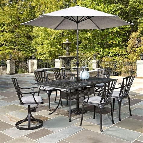 Outdoor Patio Set With Umbrella Home Styles Largo 7 Outdoor Patio Dining Set With Umbrella And Gray Cushions 5560 37586c