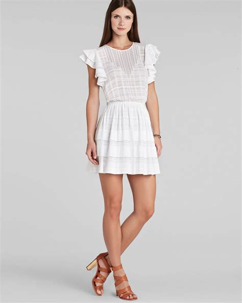 Dress Ruffle Dress lyst bcbgmaxazria bcbg max azria dress joice ruffle in white