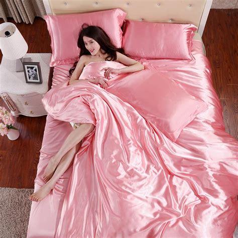 how to set color in clothes 100 satin silk bedding set home textile plain