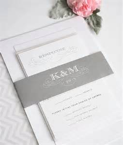 wedding invitations with monogram in gray wedding invitations