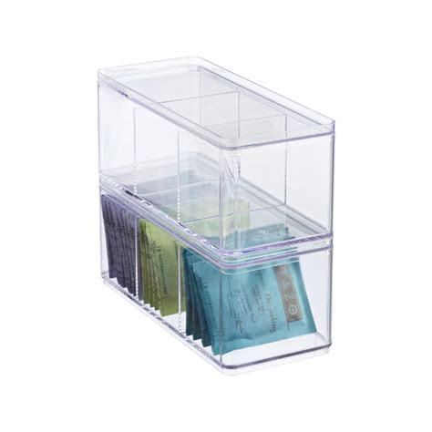 3 Section Container by 3 Section Narrow Stackable Rectangle The Container Store