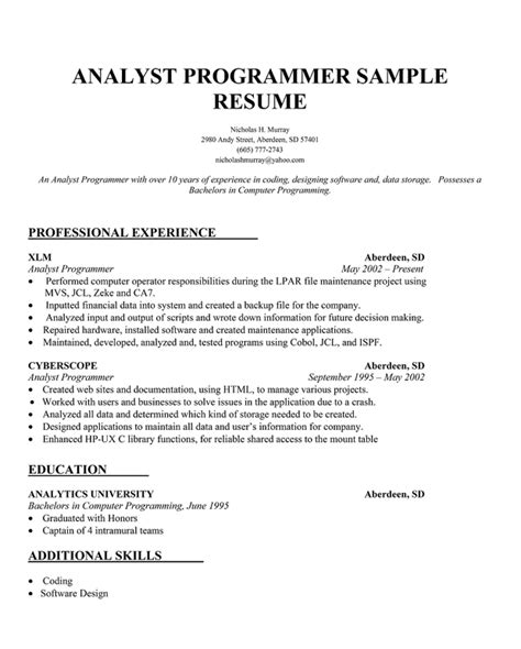 Sample Resume For Programmer – Simple Resume Sample Writing Tips And Samples   Tattoo