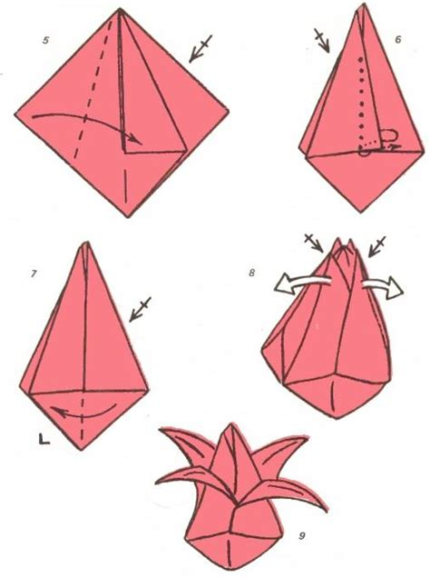 How To Make A Paper Tulip Step By Step - arts and crafts origami volume tulip folding