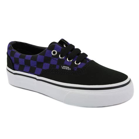 vans era purple vans era check canvas laced trainers purple black ebay