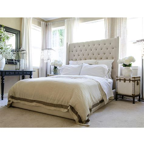 tall headboards for queen beds elements fine home chelsea queen bed in seashell fabric w