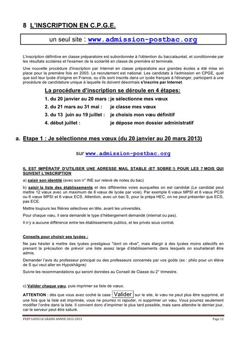 Calendrier Concours Cpge 12odile Dossier Inscription Cpge 2013 V 19 01 2012 Llg