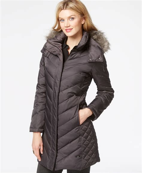 Kenneth Cole Chevron Quilted Coat by Kenneth Cole Faux Fur Trim Chevron Quilted Coat In