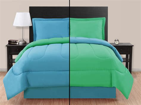 green comforter twin full blue green reversible comforter set