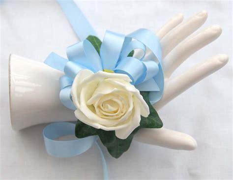 Handmade Wrist Corsage - handmade ivory wrist corsage with light blue satin