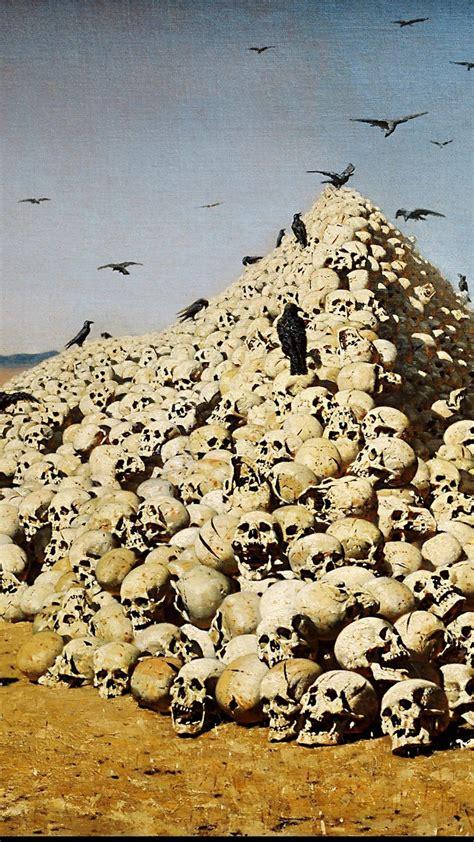 skulls artwork vasily vereshchagin  apotheosis  war