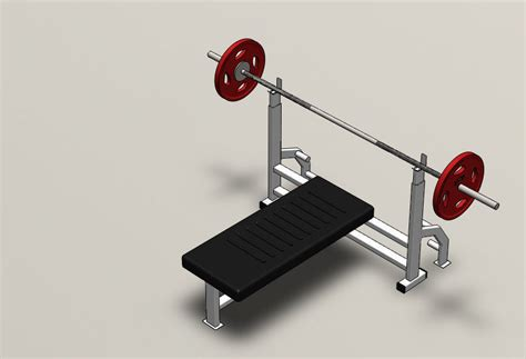 chest bench press price chest press bench press barbell gym 3d model sldprt