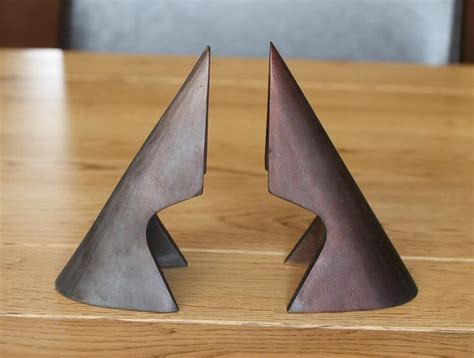 Bauhaus Led 2972 cutaway triangle bookends by carl aubock by carl aub 246 ck