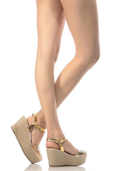 Piped Espadrille Wedge From Outfitters by Gold Glitter Piped Espadrille Wedges Cicihot Wedges