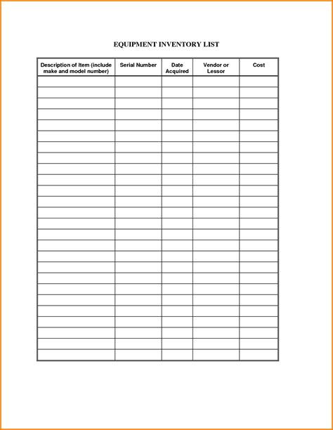 inventory list templates equipment inventory template authorization letter pdf