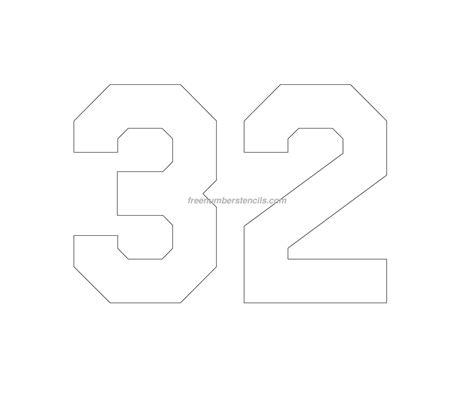 printable jersey numbers free jersey printable 32 number stencil
