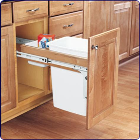 Kitchen Cabinet Trash Pull Out by Fastening A Pullout Trash Can To A Cabinet Door Cabinet