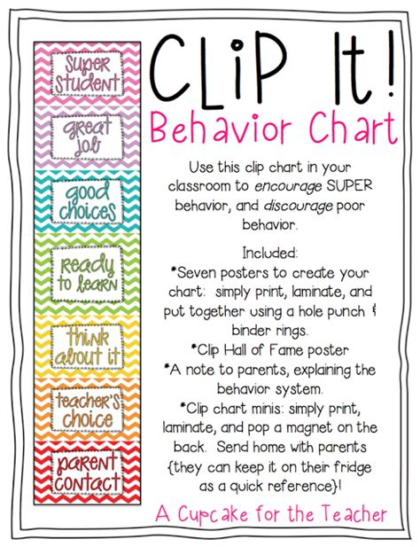 clip it behavior chart a cupcake for the