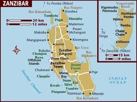zanzibar map map of zanzibar