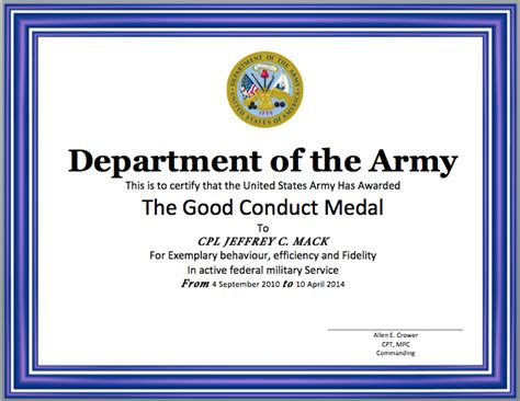 good conduct certificate template word templates