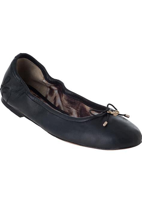 Flat Black Leather sam edelman felicia ballet flat black leather in black lyst