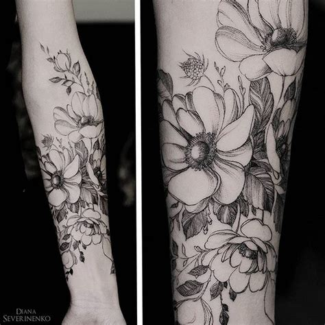 diana severinenko tattoo anemones flowers tattoos