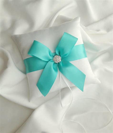 blue wedding ring bearer pillow white satin ring