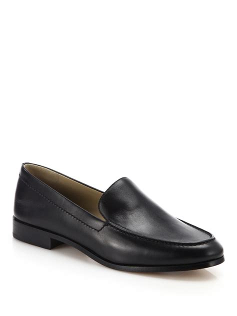michael kors black loafers michael kors wren leather loafers in black lyst