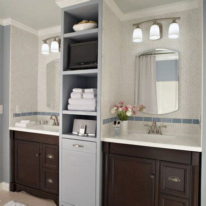 two separate sinks and vanities bathroom   into a soothing