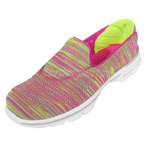 skechers multi color shoes skechers go walk 3 fitknit multi color womens