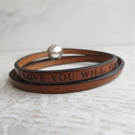 personalised leather wrap bracelet by gracie collins