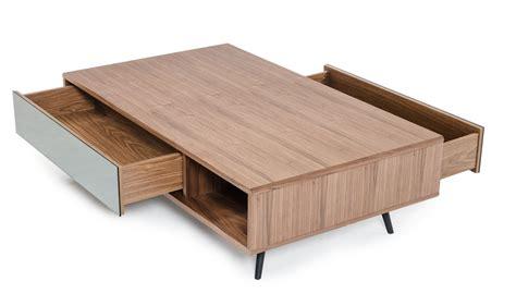 Modern Walnut Coffee Table Modrest Kennedy Modern Walnut Coffee Table Coffee Tables Living Room
