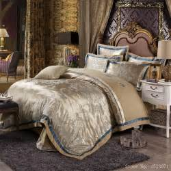 King Size Bed Duvet Dimensions European Style Mulberry Silk Bed Linen Set Jacquard Satin