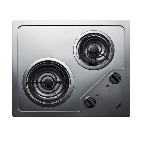 summit cooktop summit appliance 21 in 2 element coil stainless steel