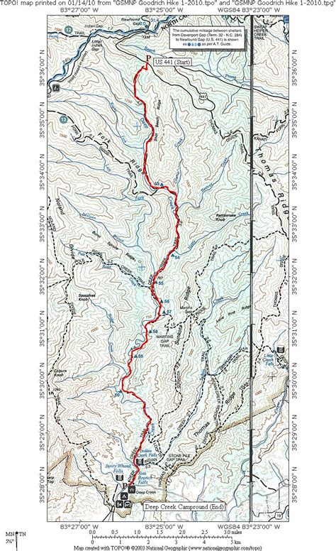 gsmnp trail map great smoky mountains creek n2backpacking