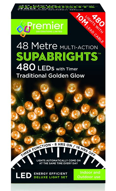 premier traditions christmas lights premier supabright multi 48m led lights traditional golden glow