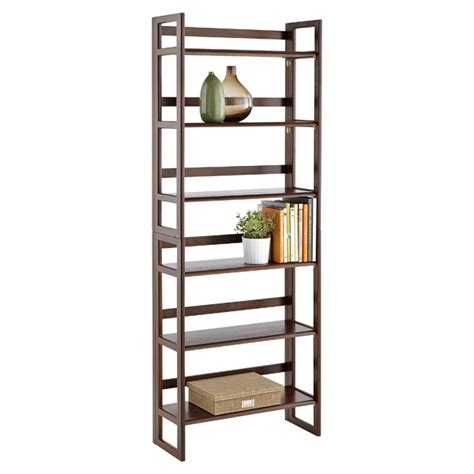 Foldable Book Shelf by Java Solid Wood Stackable Folding Bookcase The Container