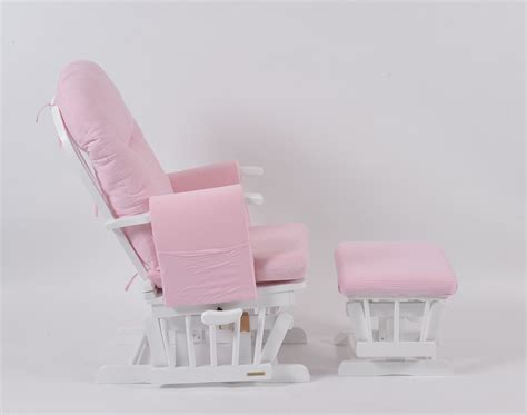 pink and white glider chair habebe glider chair stool white wood pink stripe