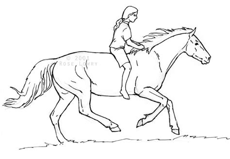 free coloring pages of horse and rider jumping