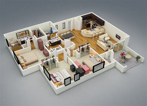 Home Plan Design 3d 25 More 3 Bedroom 3d Floor Plans