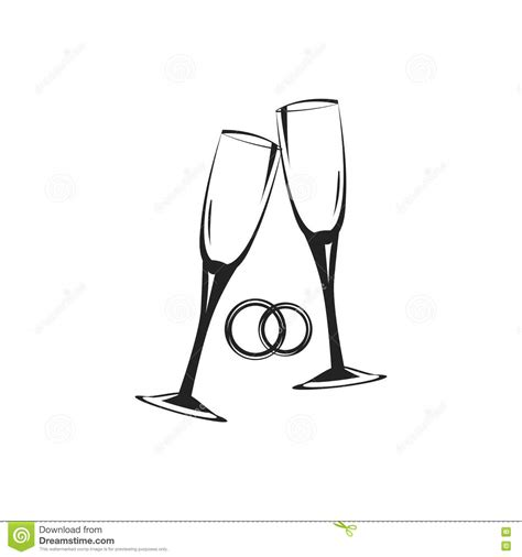 Wedding Glasses Clipart by Wedding Glasses And Rings Symbols Vector Illustration