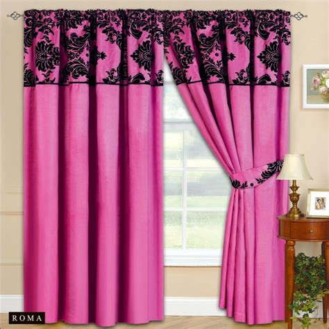 black and fuchsia curtains new fully lined ready made tape top curtains fuchsia pink
