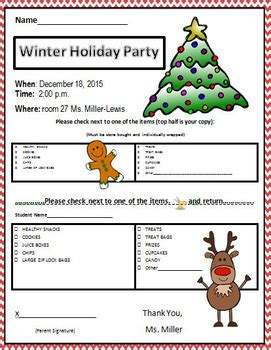 holiday christmas winter party letter cories classroom