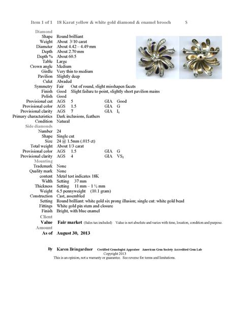 jewelry appraisal form template appraisal exles argo lehne jewelers