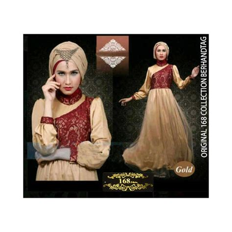 Gamis Bahan Sifon Brukat New Bride Vogue   model baju muslim berbahan sifon gambar model baju muslim
