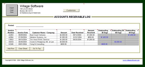 accounts receivable invoice template accounts receivable log analytical excel spreadsheets