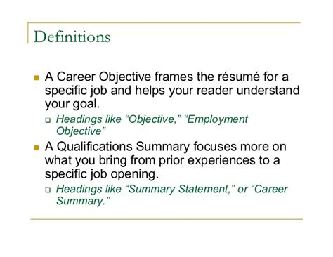 career goal and objective objective career summary
