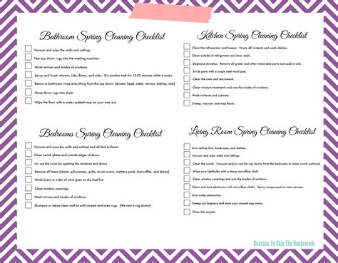 cleaning checklist cleaning checklist page 2 of 2 reasons to skip
